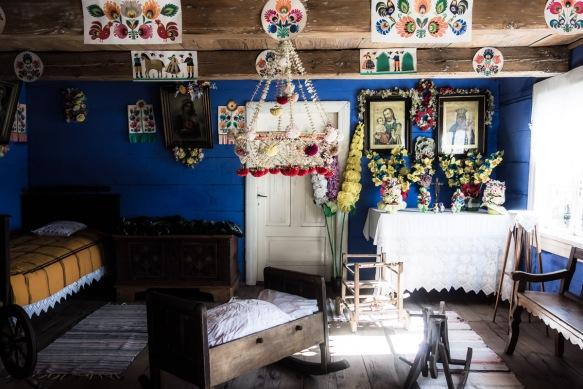 Living room with folk art